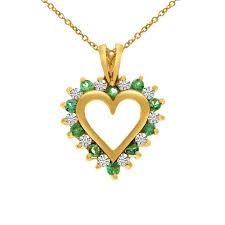 gold emerald and diamond heart shaped pendant stock p961 05