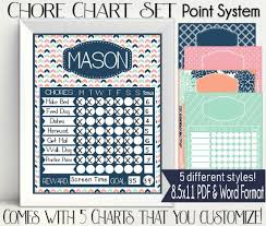 Point System Chore Chart Printable Personalized Navy Peach Mint Pink