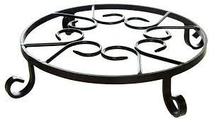 scrolled metal raised plant pot stand