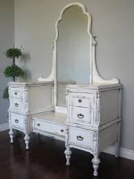 Shabby Chic Bedroom With Dark Furniture Shabby Chic Wooden Dressing Table With Drawers And Curved Mirror