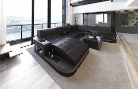 Details Zu Sofa Wohnlandschaft Design Couch Luxus Garnitur Wave Xxl Schwarz Grau Led Licht