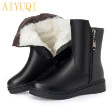 aiyuqi 2019 new genuine leather women winter boots warm thick wool snow big size 41 42 43 high heel boots