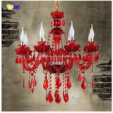 european style k9 red crystal chandelier cafe restaurant bar lamp coffee diffuse crystal chandelier candle led lamps 6 8 12 arms lights for ceiling pendant