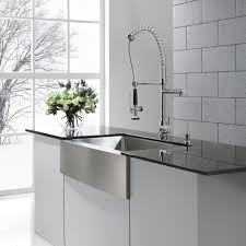 kraus 36 inch farmhouse single bowl stainless steel kitchen sink with kitchen faucet and soap dispenser