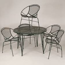 Fine Mid Century Modern Patio Furniture Mcm Wire Mesh Dinette Set Intended Models Design