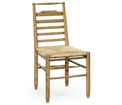 natural oak ladder back country chair with rush seat side