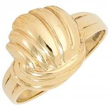 pre owned 9ct yellow gold swirl dress ring