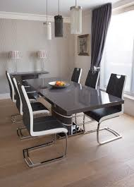 greenapple rimini high gloss extending dining table with glass top grey with white style our home
