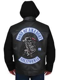 sons of anarchy hooded black leather jacket