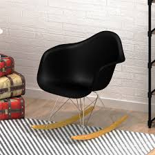 retro wooden rocking chair rocker armchair with plastic seat chrome metal legs