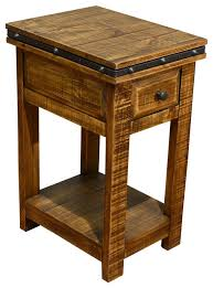 Rustic Solid Wood Side Table Narrow Nightstand With Drawer industrial- nightstands-and-bedside