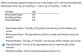 ch3co2h solved which is the best colored indicator to use in the