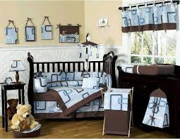 unique crib bedding blue and brown