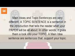 What Is The Main Idea And Topic Sentence Youtube