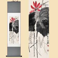chinese silk watercolor qi baishi ink flower lotus leaf print feng s art wall picture damask