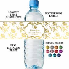 waterbottle labels personalized wedding water bottle labels real metallic print