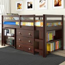 twin loft bed with desk and storage dark cappuccino