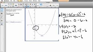 finding a quadratic function with a particular vertex and y intercept