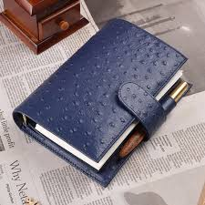 Genuine Leather Rings Notebook 192x135mm Personal Diary Ostrich