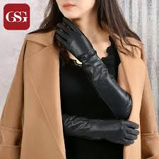 2019 gsg famous brand women long leather gloves fashion sheepskin gloves las winter warm soft leather full finger evening from naixing 71 7 dhgate
