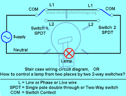 staircase wiring circuit diagram how to control a lamp from 2 places how to control a lamp from two different places by using two 2 way switches