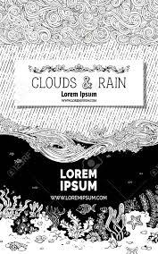 雲波と水中生活をいたずら書き空と海底の黒い部分に白い紙の上の本文コピー