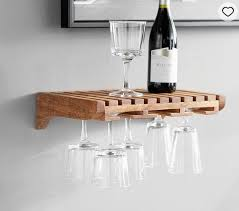 details about pottery barn wine glass storage wooden shelf rustic wall mount new in box