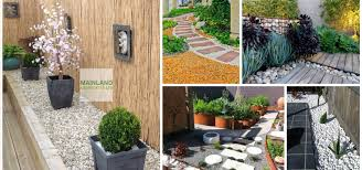 in garden landscaping with white pebbles