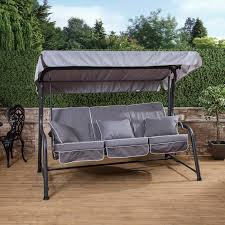 charcoal turin 3 seater reclining swing seat with luxury cushions alfresia