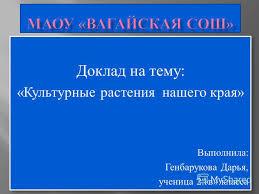 Презентация на тему Доклад на тему Культурные растения нашего  1 Доклад на тему Культурные растения