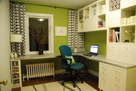 office room diy decoration blue. Interior Design: Green Working Corner Featuring Sleek White L Shaped Desk  With Open Compartments And Office Room Diy Decoration Blue U