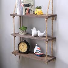 rustic vintage solid wood wall rope storage shelf
