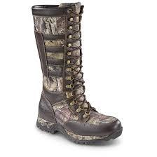 guide gear men s leather snake boots waterproof side zip brown mossy oak
