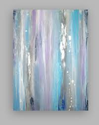original gray and blue acrylic abstract painting titled silver lining 30x40x1 5 by