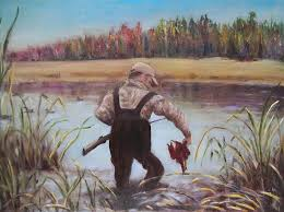 landscape painting duck hunting by ey paterson