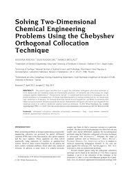 pdf solving two dimensional chemical engineering problems using the chebyshev orthogonal collocation technique