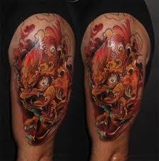 фото тату голова с узорами японский демон татуировки и эскизы