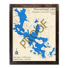 Moosehead Lake Me 3d Nautical Wood Maps