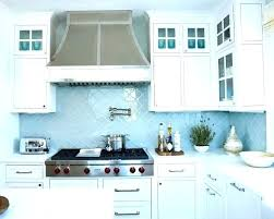 simple gray tile kitchen backsplash cabinets with brown white