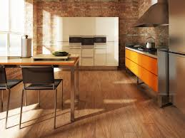 Red Brick Flooring Kitchen Modern Kitchen Design With Wood Look Tile Floor Red Brick Walls