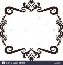Heart Scrolls Floral Romantic Heart Ornament Scrolls Frame Element Stock Vector