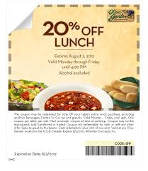 print for a free appetizer or dessert when you purchase two entrees at your local olive garden restaurant