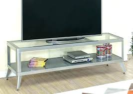 silver tv stand stands glass shelves metal w of with door