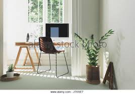 home office simple neat. Monochromatic White Home Office Or Study Interior With A Simple Table Desk Computer And Potted Plants Neat O