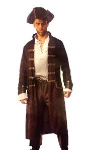 captain cutthroat pirate costume brown faux leather print men plus size std l