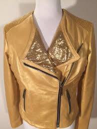 details about womens brand new gold leather jacket handmade in italy by masterpelle