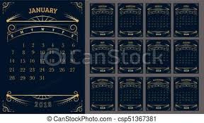 Vector Of Calendar 2018 Year 12 Month Calendar With Gold Vintage Ornamental Frame Week Start At Sunday