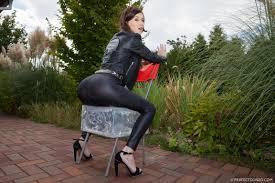 Brunette babe Misha Cross in tight black Pants 1 of 2