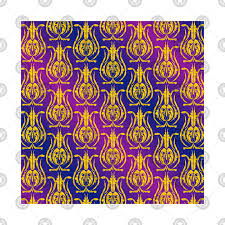 Gold Damask Background Gold Damask With Blue And Purple Background