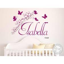 girls personalised bedroom nursery wall sticker with flowers and erflies